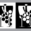 Royalty-Free Stock : Wine glasses and botlle sign(vector,CMYK)