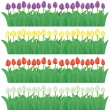 Flower borders set(vector, CMYK) — Vector de stock