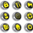 Royalty-Free Stock Vector Image: Metal web icon set (vector, CMYK)