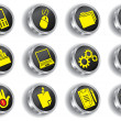 Metal web icon set (vector, CMYK) - Stock Vector