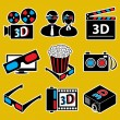 3d movie devices. icon set(vector, CMYK) — Stock Vector