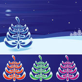 Winter landscape and stylized new year's tree set(vector,CMYK) — Stock Vector