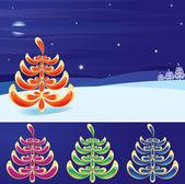 Paesaggio invernale e albero stilizzato di capodanno set (vettoriale, cmyk) — Vettoriale Stock