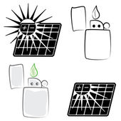 Solar panel and lighter symbols set(vector, CMYK) — Stock vektor