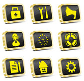 Golden web icon set (vector, CMYK) — Stock Vector