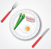 Fried egg, bacon and green asparagus browses — Stock Vector