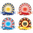 Award ribbon rosettes. National flag colors.(vector, CMYK) — ストックベクタ