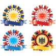 Award ribbon rosettes. National flag colors.(vector, CMYK) — Stockvector