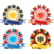 Award ribbon rosettes. National flag colors.(vector, CMYK) — Stock vektor