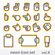 Neon icon set(vector, CMYK) — Vettoriali Stock