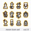 Neon icon set(vector, CMYK) - Stock Vector
