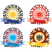 Award ribbon rosettes. National flag colors.(vector, CMYK) — Stock Vector