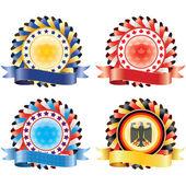 Award ribbon rosettes. National flag colors.(vector, CMYK) — Stock Vector