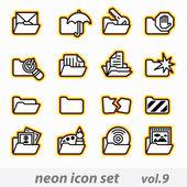 Neon icon set(vector, CMYK) — Stock Vector