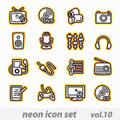 Neon multimedia computer icon set — Stock Vector
