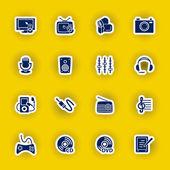 Vector multimedia computer icon set — Stock Vector