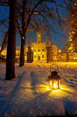 Lantern in park at night — Stock Photo