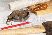 Plan with old tools — Zdjęcie stockowe