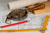 Plan with tape measure — Stock Photo