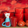 Red flower pot — Stock Photo