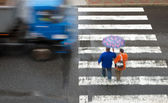 Pedestrian crossing with truck — Stock Photo