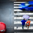Pedestrian crossing with car — Stock Photo