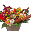 Bouquet with flowers and sausages — Stock Photo