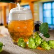 Beer glass and hops — Stock Photo