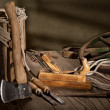 Still life with old tools — Stockfoto