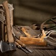 Still life with old tools — Stock Photo