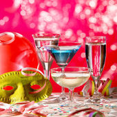Wine Glasses And Carnival Mask — Stock Photo
