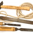 Stock Photo: Old tools with rope