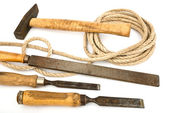 Old tools with a rope — Stock Photo
