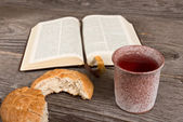 Bible With Bread And Chalice — Stock Photo