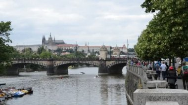 Riverbank With Prague Castle — Stock Video
