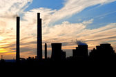 Silhouette of power plant — Stock Photo