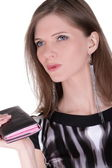 Fashion girl with wallet — Stock Photo