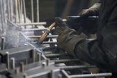 Industrial worker welding — Stock Photo