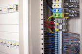 Electricity - wires in a Control Panel — Stock Photo