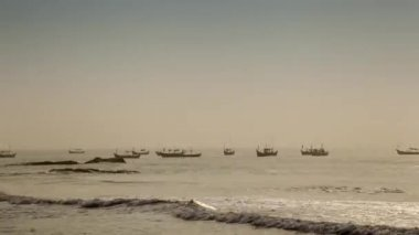 Multitude of fishermen's traditional boats — Stock Video