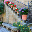 Floral Doorway, Civita, Lazio, Italy — Stock Photo