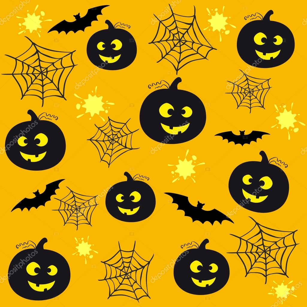 Seamless yellow background for Halloween with pumpkins and bats — Stock Vector #12387863