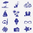 Summer icons blue — Stock Vector