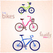 Family bikes — Stock Vector