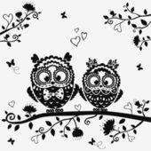 Owl black — Stock Vector