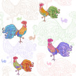 Cockerel pattern — Stock Vector