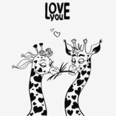 Giraffe black — Vector de stock