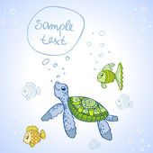 Turtle and Fish — Vector de stock