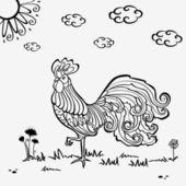 公鸡剪影 — 图库矢量图片