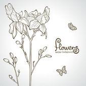 Blumen-silhouette — Stockvektor
